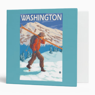 Skier Carrying Snow Skis - Washington Binder