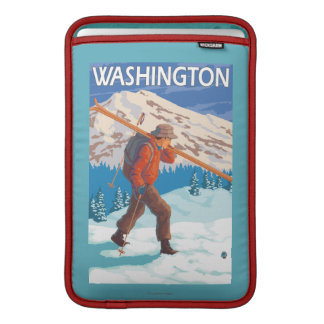Skier Carrying Snow Skis - Washington MacBook Air Sleeve