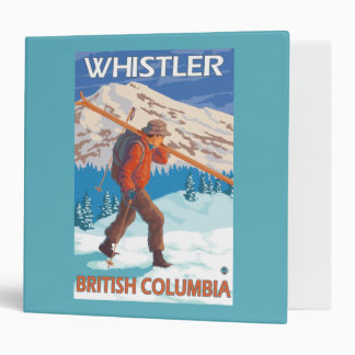 Skier Carrying Snow Skis - Whistler, BC Canada 3 Ring Binder