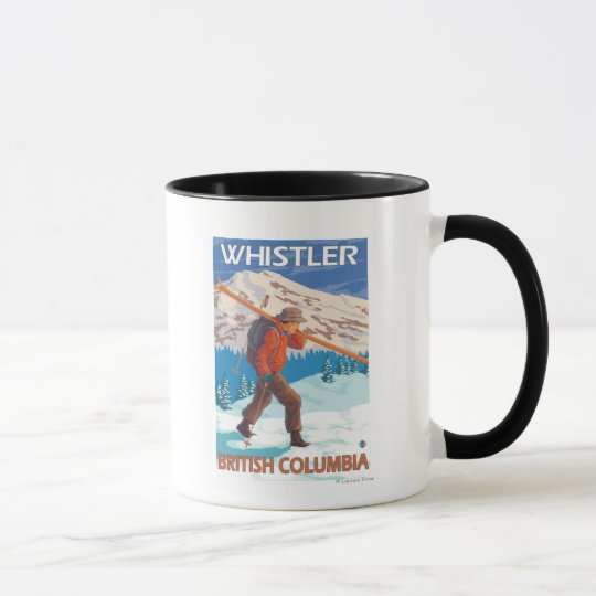 Skier Carrying Snow Skis - Whistler, BC Canada Mug