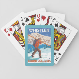 Skier Carrying Snow Skis - Whistler, BC Canada Playing Cards