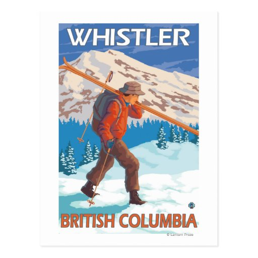 Skier Carrying Snow Skis - Whistler, BC Canada Postcards