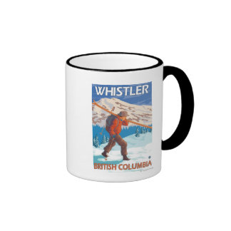 Skier Carrying Snow Skis - Whistler, BC Canada Ringer Coffee Mug
