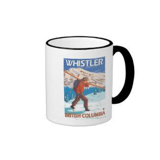 Skier Carrying Snow Skis - Whistler, BC Canada Ringer Mug