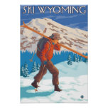 Skier Carrying Snow Skis - Wyoming Posters