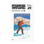 Skier Carrying Snow Skis - Yellowstone Nat'l Stamps