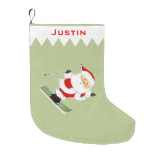 Skier Christmas keepsake gift Large Christmas Stocking