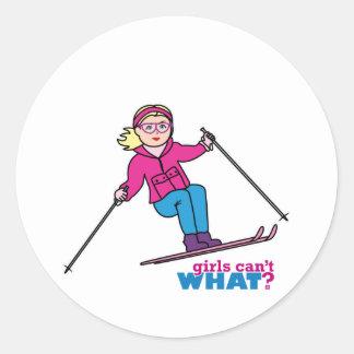 Skier Girl Classic Round Sticker