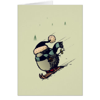 Skier hedgehog card