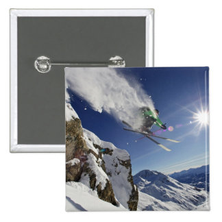 Skier in Midair 2 Inch Square Button