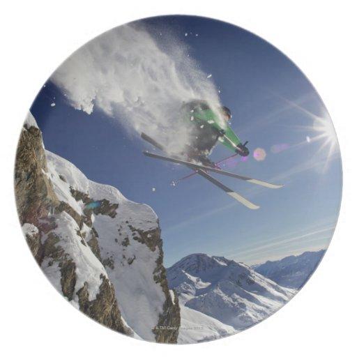 Skier in Midair Dinner Plate