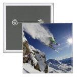 Skier in Midair Pinback Button