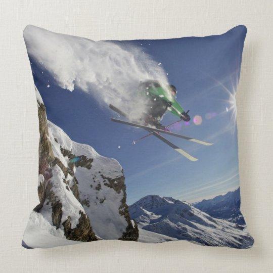 Skier in Midair Throw Pillow