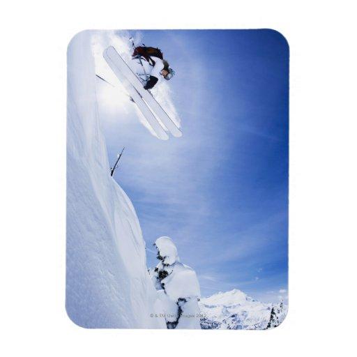 Skier Jumping Rectangular Photo Magnet