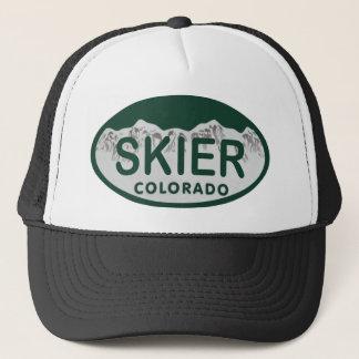 skier license oval trucker hat