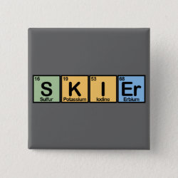 Square Button with Skier design