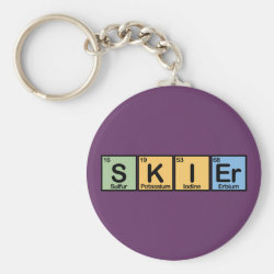 Basic Button Keychain with Skier design