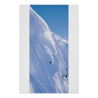 Skier on cliff poster