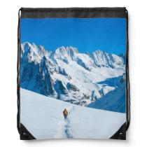 Skier on Snowy Mountain Vista Drawstring Bag