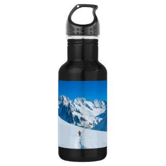 Skier on Snowy Mountain Vista Stainless Steel Water Bottle