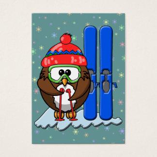 skier owl business card