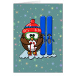 skier owl card