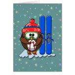 skier owl greeting card