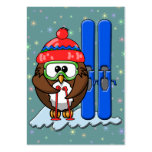 skier owl large business cards (Pack of 100)