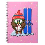 skier owl notebook