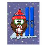 skier owl postcard