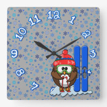 skier owl square wall clock