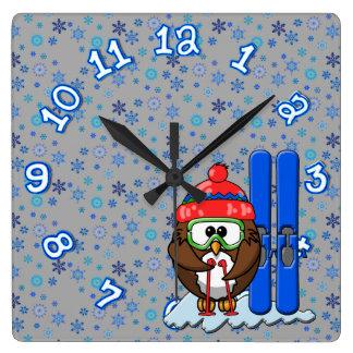 skier owl square wall clock