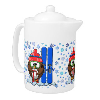 skier owl teapot