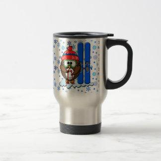 skier owl travel mug