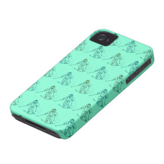 Skier pattern on pistachio green iPhone 4 cover