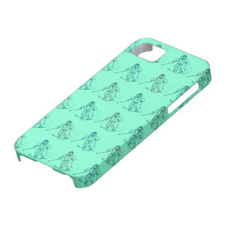Skier pattern on pistachio green iPhone 5 cover