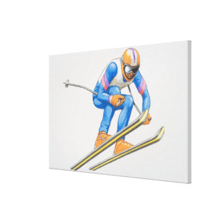 Skier Performing Jump 2 Gallery Wrapped Canvas