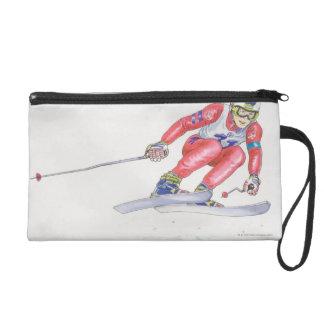 Skier Performing Jump 2 Wristlet Purse