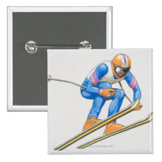 Skier Performing Jump 2 Inch Square Button