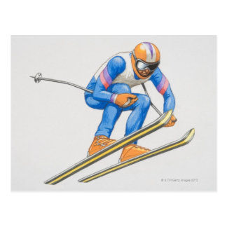 Skier Performing Jump Postcard