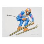 Skier Performing Jump Postcards