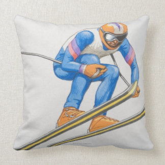 Skier Performing Jump Throw Pillow
