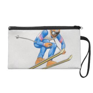 Skier Performing Jump Wristlet Purse