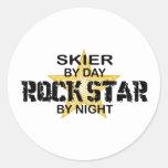 Skier Rock Star by Night Round Sticker