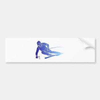 Skier skis bumper sticker