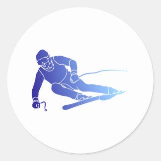 Skier skis round sticker
