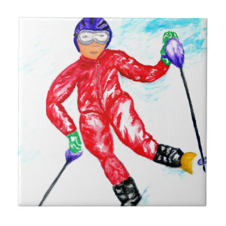 Skier Sport Illustration Tile