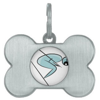 Skier Stick Figure Icon Pet ID Tag