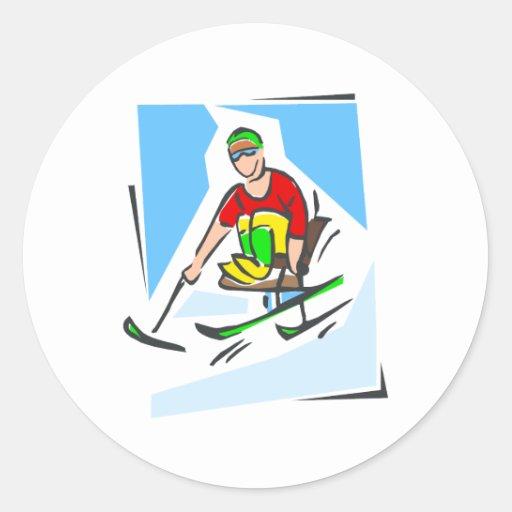 Skier Round Sticker