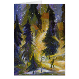 Skier Winter Village Night Card